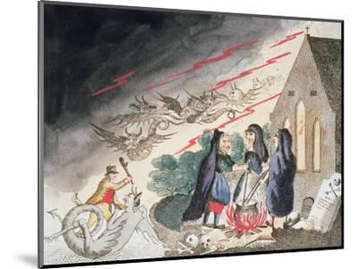 Three witches in a graveyard, c1790s-Unknown-Mounted Giclee Print