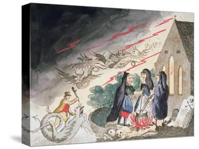 Three witches in a graveyard, c1790s-Unknown-Stretched Canvas Print