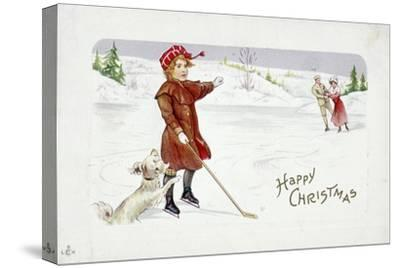 Christmas card with a golfing theme-Unknown-Stretched Canvas Print