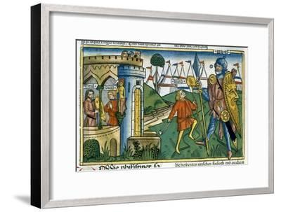 David defeats Goliath and meets Saul-Unknown-Framed Giclee Print