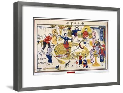 Harvest on a Chinese farm, 20th century-Unknown-Framed Giclee Print