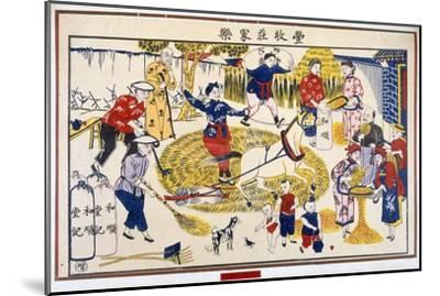 Harvest on a Chinese farm, 20th century-Unknown-Mounted Giclee Print