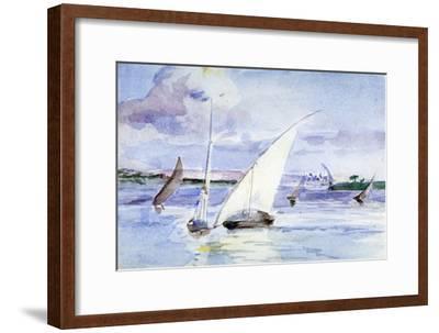 'A Lake with Sailing Boats', c1864-1930-Anna Lea Merritt-Framed Giclee Print