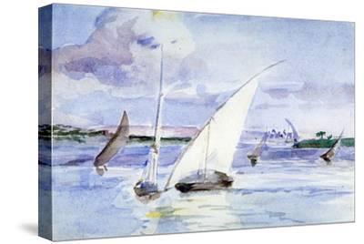'A Lake with Sailing Boats', c1864-1930-Anna Lea Merritt-Stretched Canvas Print