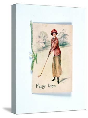 Greetings card with golfing theme, c1910-Unknown-Stretched Canvas Print