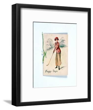 Greetings card with golfing theme, c1910-Unknown-Framed Giclee Print