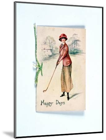 Greetings card with golfing theme, c1910-Unknown-Mounted Giclee Print