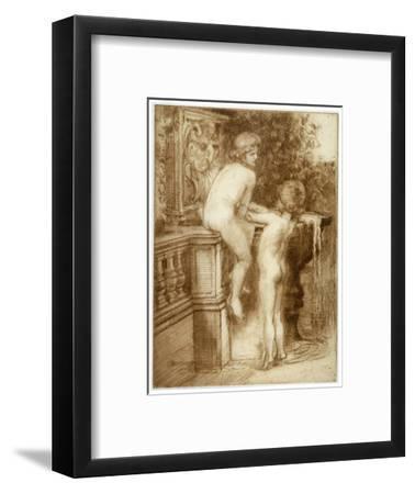 'Two Boys at a Water Fountain', c1864-1930-Anna Lea Merritt-Framed Giclee Print
