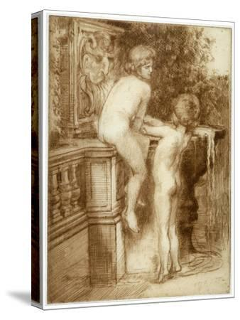 'Two Boys at a Water Fountain', c1864-1930-Anna Lea Merritt-Stretched Canvas Print