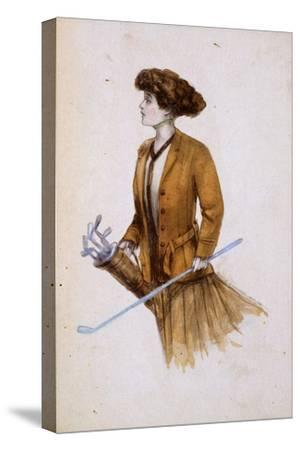 Woman with golf clubs, illustration, c1900-Unknown-Stretched Canvas Print