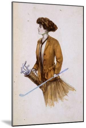 Woman with golf clubs, illustration, c1900-Unknown-Mounted Giclee Print