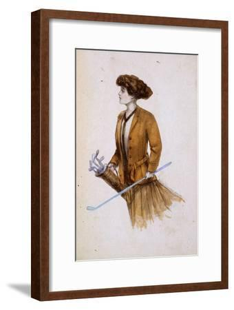 Woman with golf clubs, illustration, c1900-Unknown-Framed Giclee Print