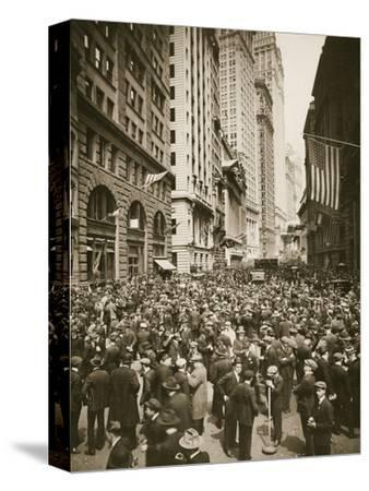 Crowds on Wall Street, New York, USA, 1918-Unknown-Stretched Canvas Print