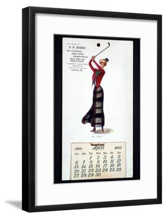 Calendar with golfing theme, American, 1902-Unknown-Framed Giclee Print
