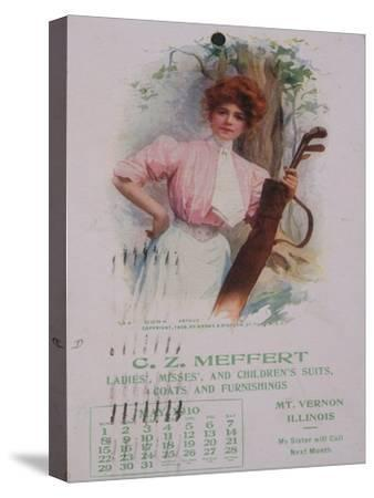 Calendar with golfing theme, American, 1910-Unknown-Stretched Canvas Print