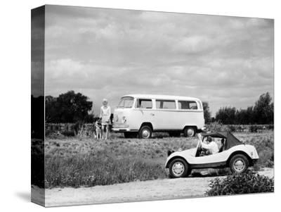 1971 VW camper van and Beach Buggy, (c1971?)-Unknown-Stretched Canvas Print