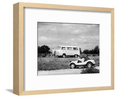 1971 VW camper van and Beach Buggy, (c1971?)-Unknown-Framed Photographic Print
