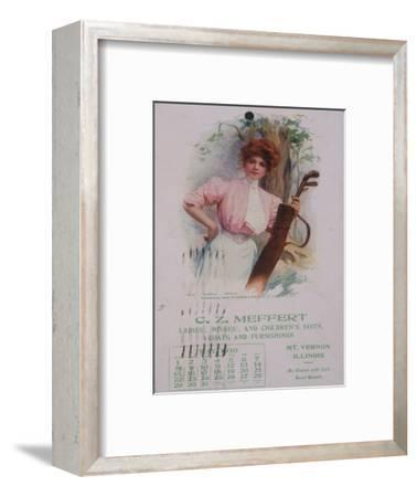 Calendar with golfing theme, American, 1910-Unknown-Framed Giclee Print