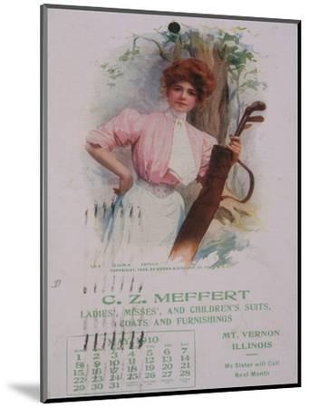 Calendar with golfing theme, American, 1910-Unknown-Mounted Giclee Print