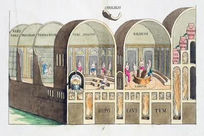 Cross section of a Roman baths, 19th century-Unknown-Framed Giclee Print