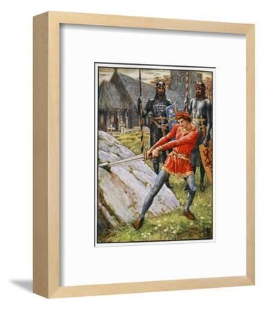 'Arthur Draws the Sword from the Stone', 1911-Unknown-Framed Giclee Print