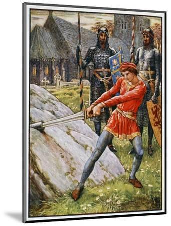 'Arthur Draws the Sword from the Stone', 1911-Unknown-Mounted Giclee Print