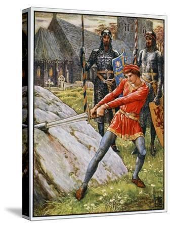 'Arthur Draws the Sword from the Stone', 1911-Unknown-Stretched Canvas Print