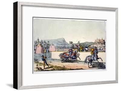 Knights jousting at a tournament, 19th century-Unknown-Framed Giclee Print