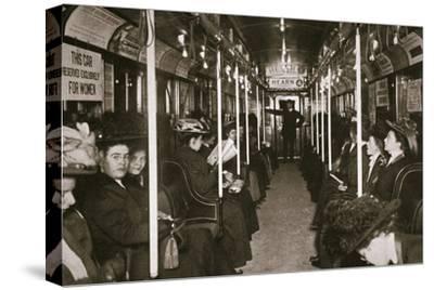Hudson River subway train, New York, USA, c1901-Edwin Levick-Stretched Canvas Print