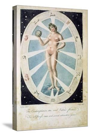 The female form with astrological symbols, 1790-Unknown-Stretched Canvas Print
