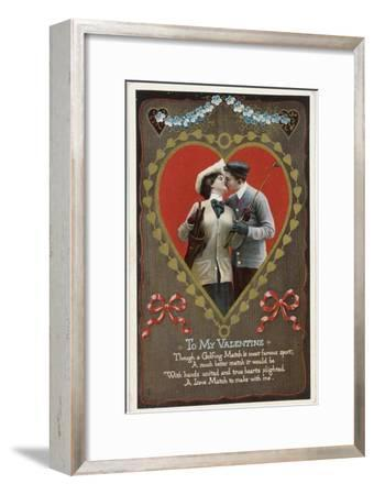 Valentine card with golfing theme, Germany, 1912-Unknown-Framed Giclee Print