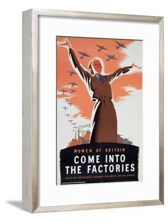 'Women of Britain Come into the Factories', c1940-Unknown-Framed Giclee Print