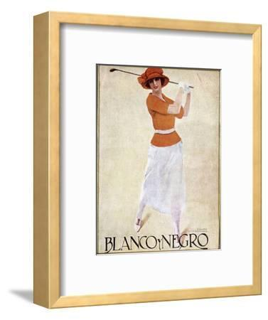 Blanco Y Negro poster with golfing theme, c1930s-Unknown-Framed Giclee Print