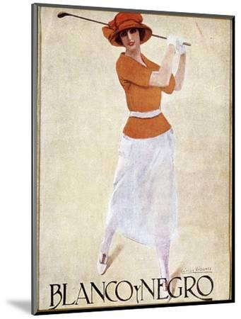 Blanco Y Negro poster with golfing theme, c1930s-Unknown-Mounted Giclee Print