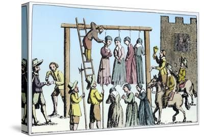 An execution of witches in England, 17th century-Unknown-Stretched Canvas Print