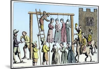 An execution of witches in England, 17th century-Unknown-Mounted Giclee Print