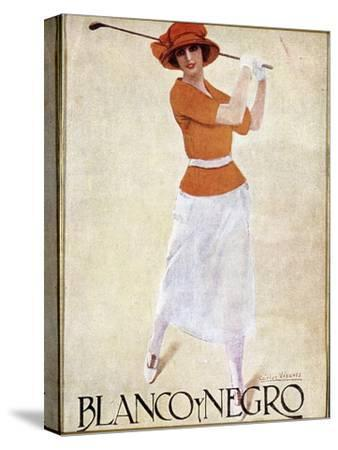 Blanco Y Negro poster with golfing theme, c1930s-Unknown-Stretched Canvas Print