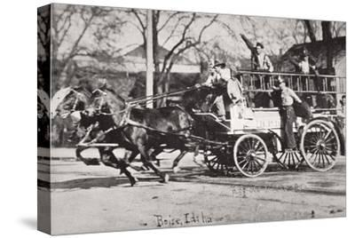 Horse-drawn fire engine, Boise, Idaho, USA, c1900-Unknown-Stretched Canvas Print