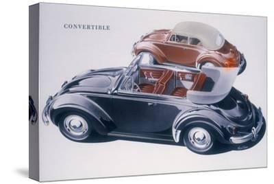 Poster advertising a Volkswagen Convertible, 1959-Unknown-Stretched Canvas Print