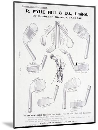 Page from a golf equipment catalogue, c1925-c1940-Unknown-Mounted Giclee Print