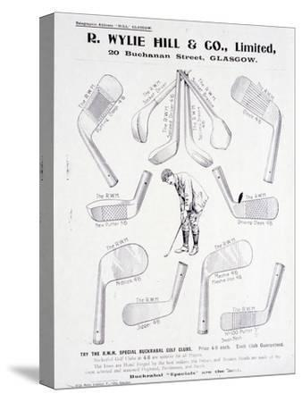Page from a golf equipment catalogue, c1925-c1940-Unknown-Stretched Canvas Print