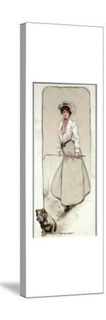 'Two are Company', lady golfer with her dog, c1900-Unknown-Stretched Canvas Print