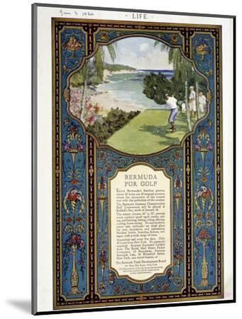 Advert for golf courses in Bermuda, January 3rd 1924-Unknown-Mounted Giclee Print