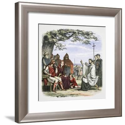 Augustine preaching before King Ethelbert, 597 (1864)-James William Edmund Doyle-Framed Giclee Print