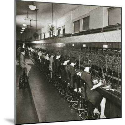 Inside a New York telephone exchange, USA, early 1930s-Unknown-Mounted Photographic Print