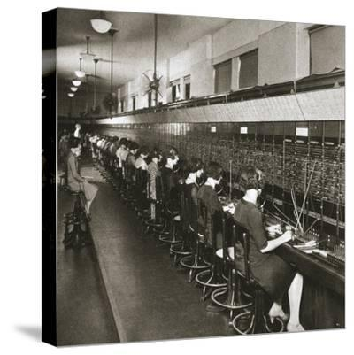 Inside a New York telephone exchange, USA, early 1930s-Unknown-Stretched Canvas Print