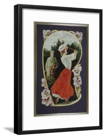 Lady golfer playing a shot, watched by her caddy, c1910-Unknown-Framed Giclee Print