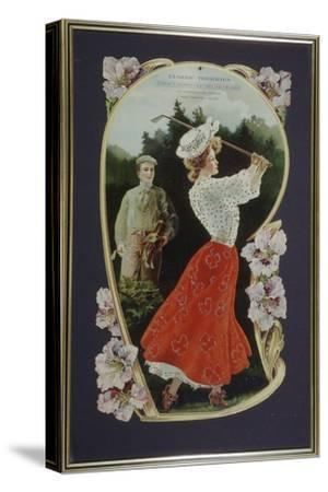 Lady golfer playing a shot, watched by her caddy, c1910-Unknown-Stretched Canvas Print
