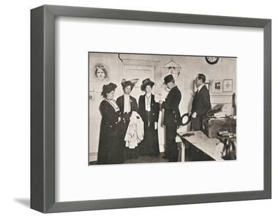Arrest of leading suffragettes, London, 13 October 1908-Unknown-Framed Photographic Print