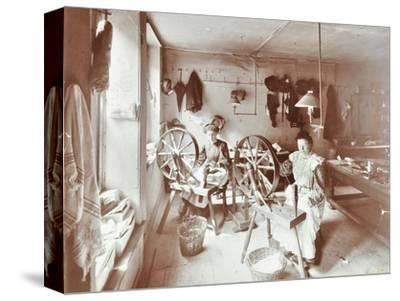 Women using spinning wheels, Bethnal Green, London, 1908-Unknown-Stretched Canvas Print